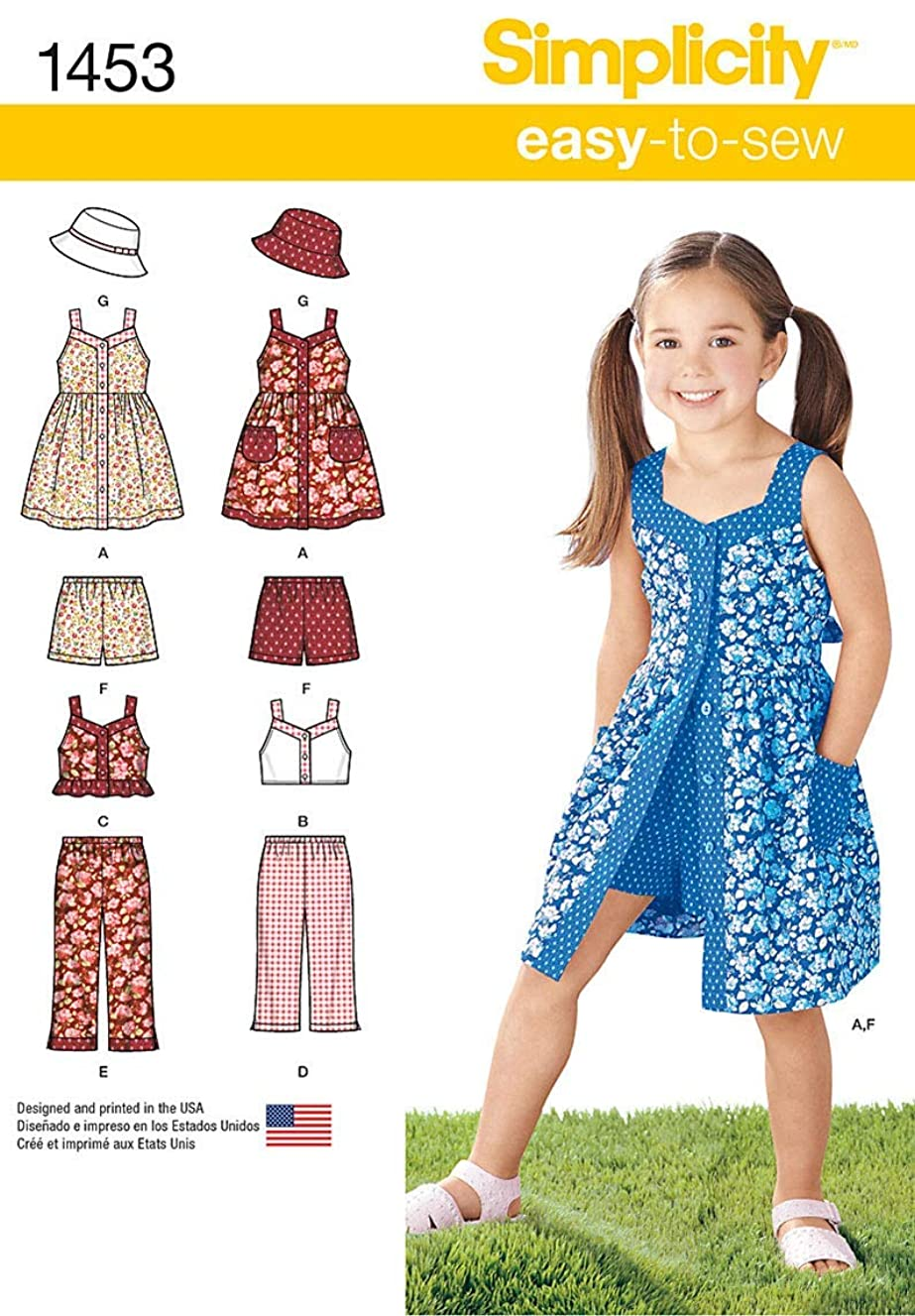 Simplicity 1453 Easy to Sew Girl's Dress, Top, Pants or Shorts and Hat Clothing Sewing Patterns, Sizes 3-8