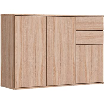CSSchmal Sideboard mit 3 T/üren 2 Schubladen Eiche Highboard Kommode Standschrank Mehrzweckschrank Anrichte Typ 100