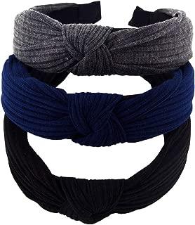 STHUAHE Pack of 3 Women Wide Stripes Cloth Cross Knot Hair Hoop Hairband Headband Hair Accessories (black Darkgrey Deepblue)