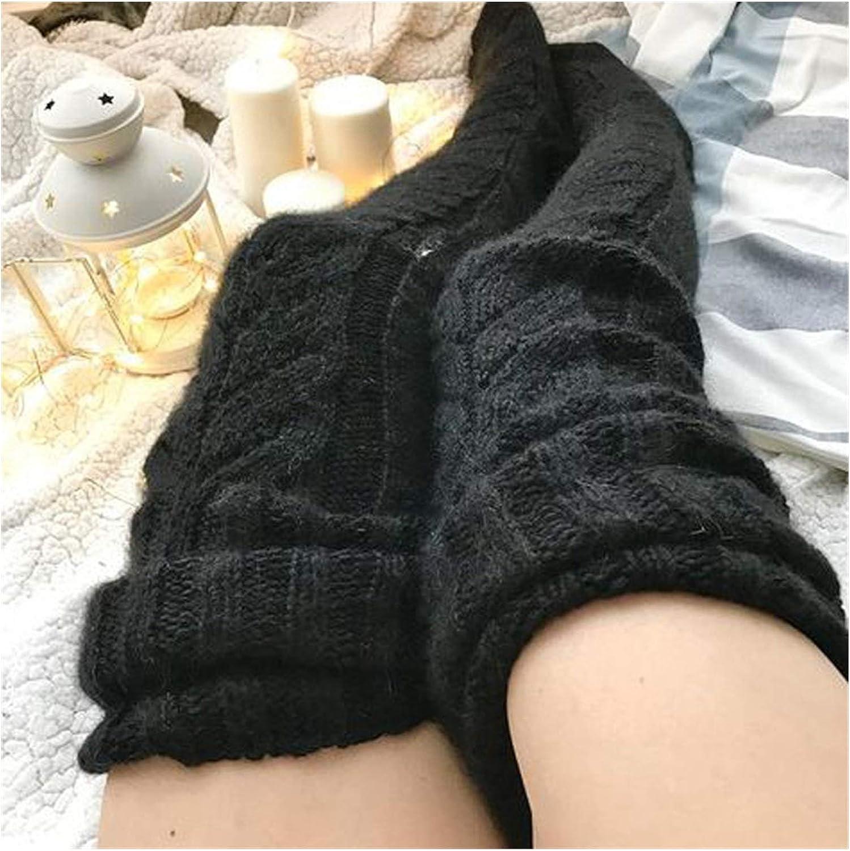 Hzwlsd Socks Winter Knitted Long Socks Women Long Stockings Warm Thigh High Socks for Ladies Girls Striped Knee Socks Women (Color : Black, Size : One Size)