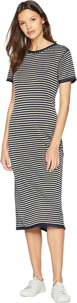 Stripe Short Sleeve Midi Dress