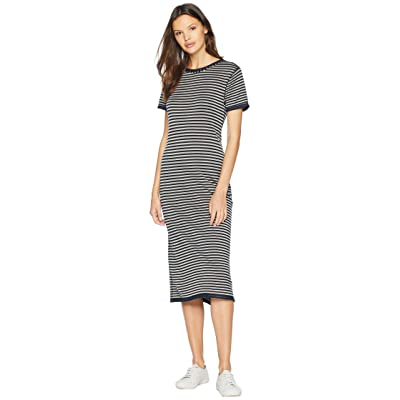 Splendid Stripe Short Sleeve Midi Dress (Navy) Women