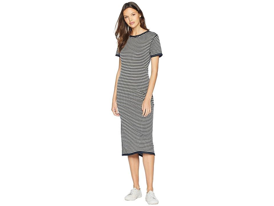 Splendid Stripe Short Sleeve Midi Dress (Navy) Women