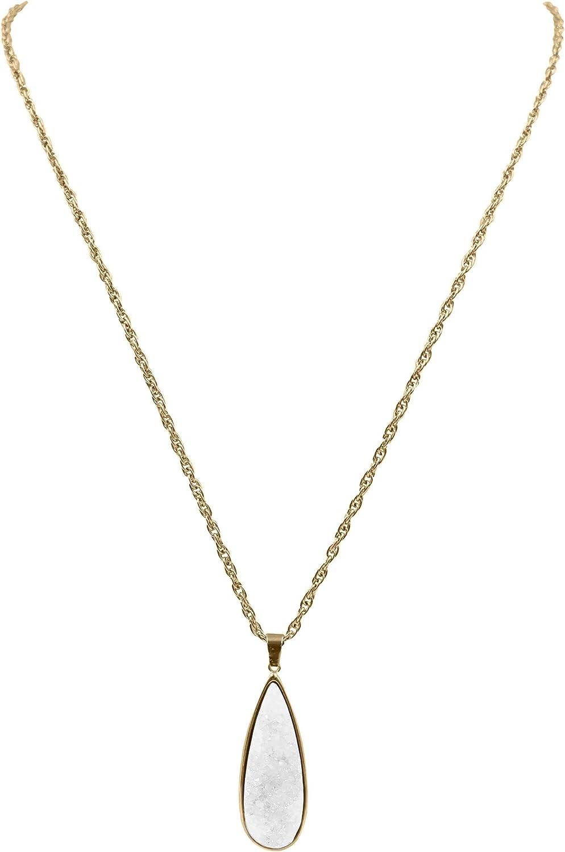 Kinsley Armelle Druzy Collection - Quartz Drop Necklace