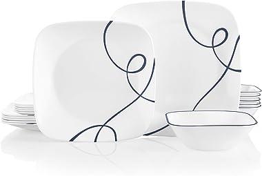 Corelle Service for 6, Chip Resistant Dinnerware Set, 18-Piece, Lia