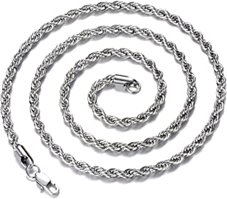 Men Necklace Stainless Steel Chain Gold/Silver Plated Chain 3-5mm Twist Rope Box Necklace Chain for Mens Boy Teen Jewelry Gift 14-30 Inch