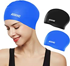 Aegend Swim Caps for Long Hair (2 Pack), Durable Silicone...