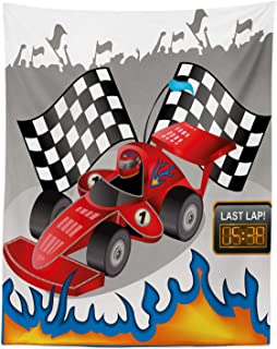 Lunarable Cars Tapestry Twin Size, Race Car with Finish Line Flags Pilot and Flames with Abstract Grey Background Print, Wall Hanging Bedspread Bed Cover Wall Decor, 68