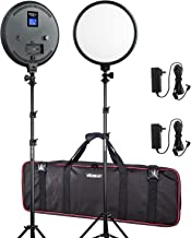 (2 Pack) 10-Inch Pro FlapJack Studio VILTROX 2000LM Bi-Color LED Studio Edge Round Light with Stand Kit for Photo Studio Product,Portrait/Video Shoot Photography