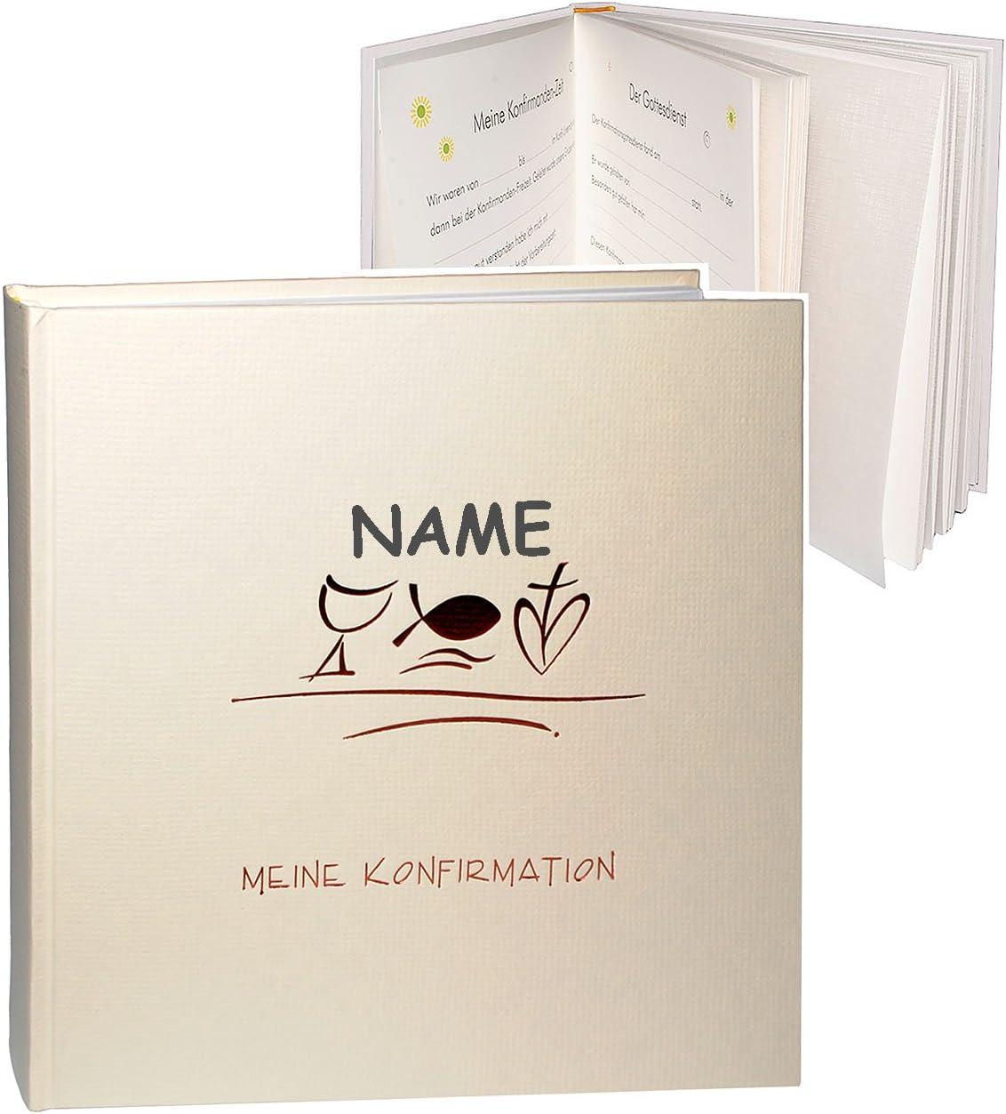 f/ür bis zu 180 Bilder Meine Konfirmation Konfirmationsalbum // Fotoalbum incl Gebunden zum Einkleben Name Fotobuch // Photoalbum // Album blanko..