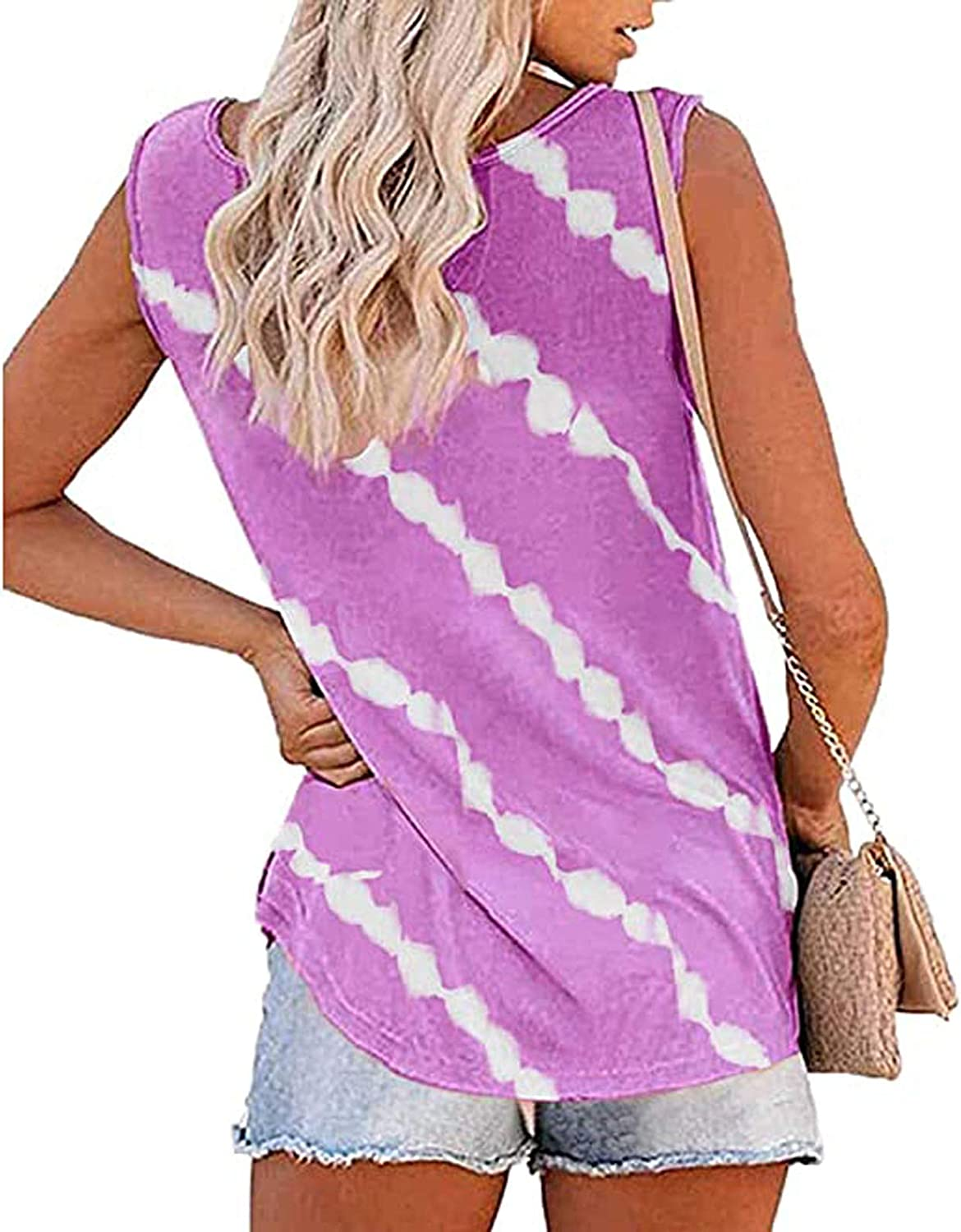 NIANTIE Tank Tops for Women Casual, Womens Stripes Printed Tank Tops Sleeveless O-Neck Henley Shirt Summer Casual Workout Tee