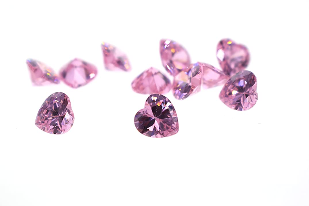 Alone Moon Automatic?machine?cutting resplendent grade heart-shaped?pink cubic?zirconia loose gemstones 6x6mm 60pcs