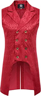 PaulJones Men's Steampunk Gothic Double-Breasted Jacquard Vest Waistcoat PJ81