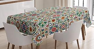 ABAKUHAUS marocain Nappe, Résumé Feuille d'ornement, Linge de Table Rectangulaire pour Salle à Manger Décor de Cuisine, 14...