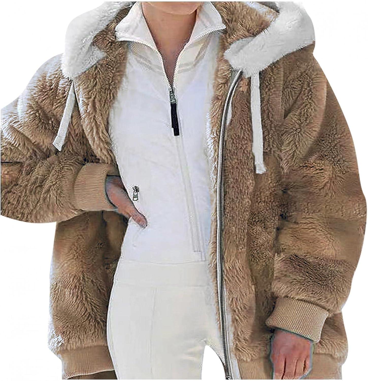 Fuzzy Fleece Jacket Women Zip Up Hoodie Long Sleeve Tops Contrast Color Coat Trendy Winter Outfits