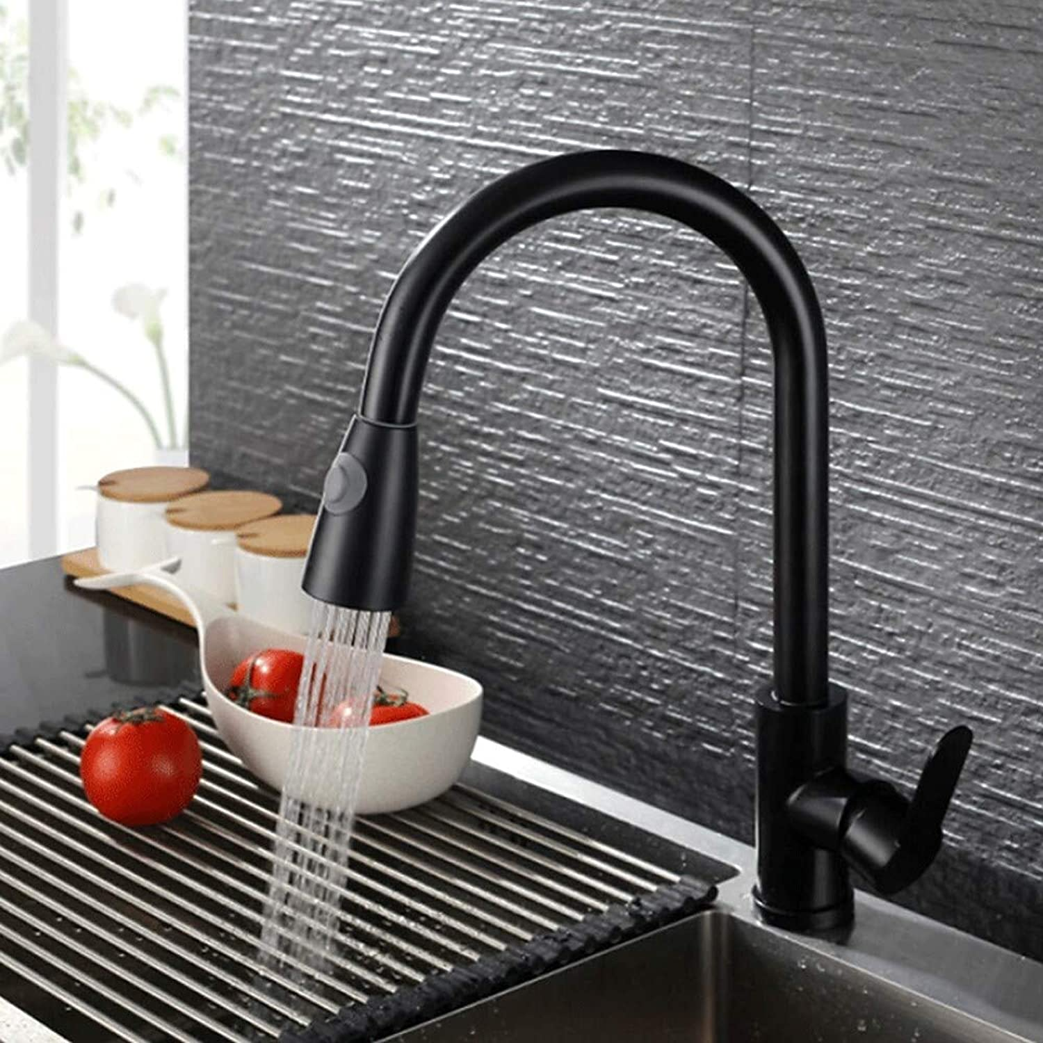 ZGL-Kitchen faucet - Single Handle One Hole Pull-Out   -Pull-Down Contemporary Kitchen Taps Brushed Stainless Steel