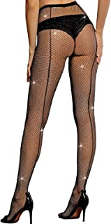 Sexy Back Seam Pantyhose Sparkle Rhinestone Fishnets Tights for Women LUCKELF