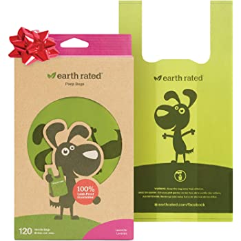 Earth Rated Dog Poop Bags, Extra Thick and Strong Dog Bags for Poop with Easy-tie Handles, Guaranteed Leak-Proof, Not on Rolls, Each Dog Poop Bag Measures 7 x 13.5 Inches