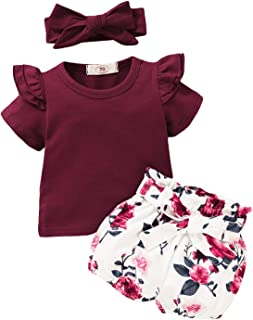 Newborn Baby Girl Clothes Short Sleeve Tops with Floral...