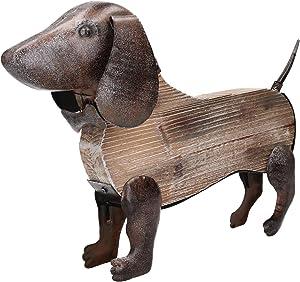 AB Tools Metal y Madera Rustica Mano Teckel Perro Ornamento de Escultura de Jardin