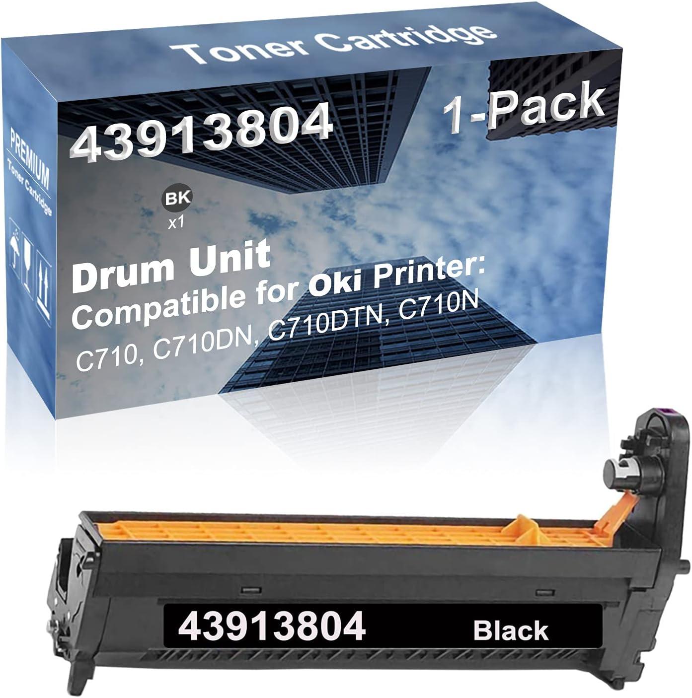 1-Pack (Black) Compatible C710, C710DN, C710DTN, C710N Printer Drum Kit High Capacity Replacement for Oki 43913804 Drum Unit