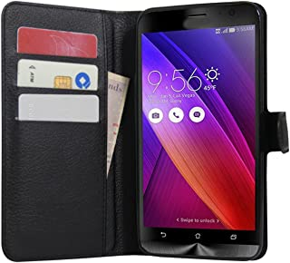 Zenfone 2 Case, Fettion Premium PU Leather Wallet Flip Phone Protective Case Cover with Card Slots for ASUS ZenFone 2 ZE550ML / ZE551ML / Deluxe/Deluxe Special Edition Smartphone (Wallet - Black)
