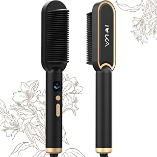 Hair Straightener Brush, IEKA Ceramic Ionic Hair Straightening Brush Fast Heating Auto Shut Off & Temperature Control Ant...