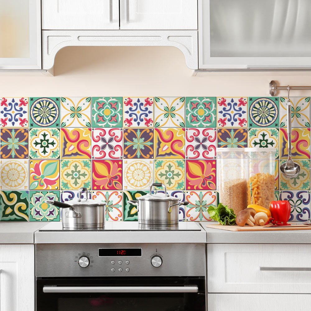 32 (Piezas) Adhesivo para Azulejos 15x15 cm - PS00049 - Valencia - Adhesivo Decorativo para Azulejos para baño y Cocina - Stickers Azulejos - Collage de Azulejos: Amazon.es: Hogar