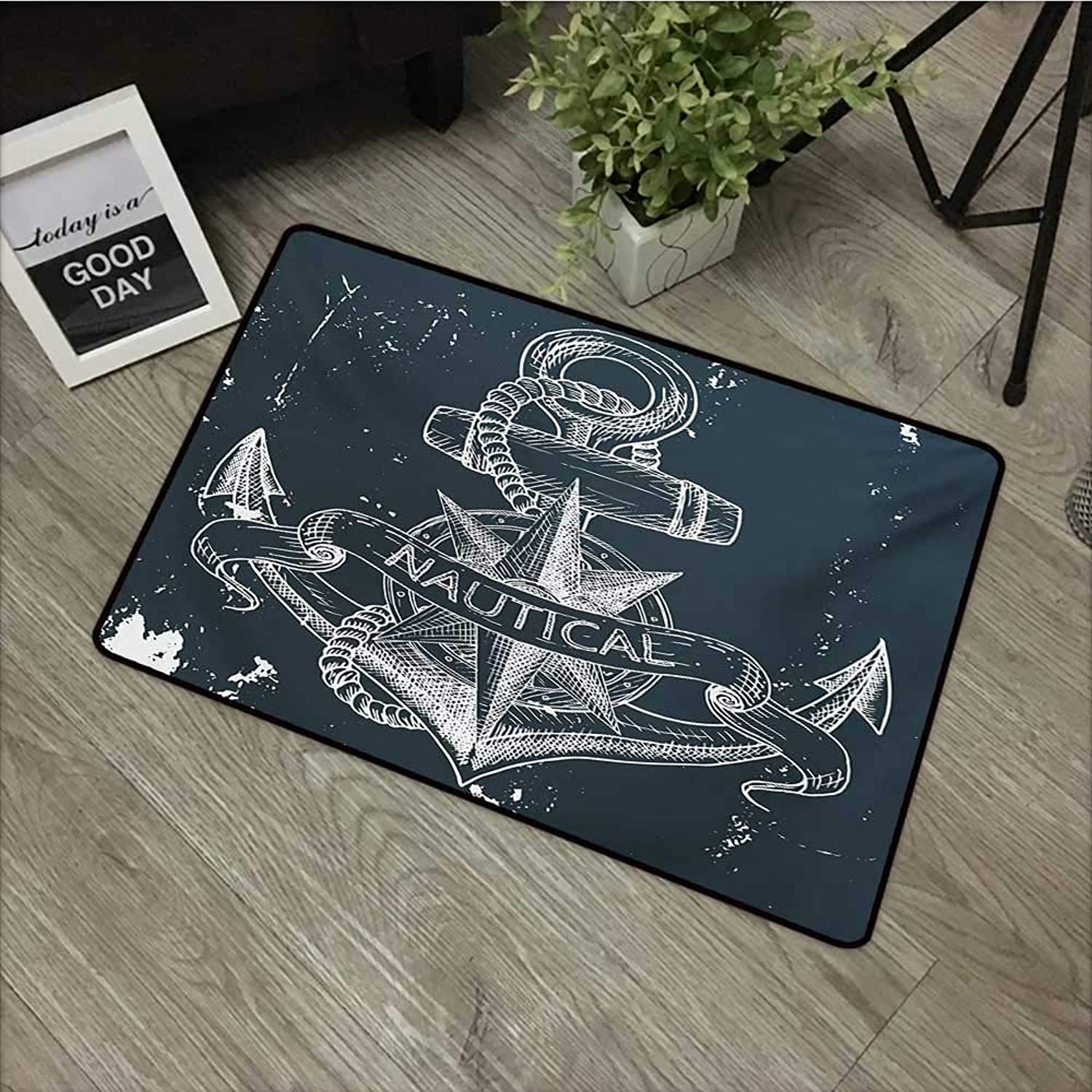 Meeting Room mat W35 x L59 INCH Marine,Nautical Knot Compass Anchor Pattern Sea World Ocean Life Grunge Illustration,Dark bluee White Non-Slip, with Non-Slip Backing,Non-Slip Door Mat Carpet