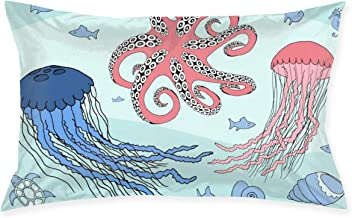 Cinlanck Two Jellyfish Octopus and Sea Beasts Custom Rectangular Pillowcase Polyester Velvet Material 30x20in for Sofa Bedroom