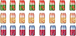 LUV BOX-Variety AHA Sparkling Water Pack , 12 oz , Pack of 24, STRAWBERRY CUCUMBER , BLUEBERRY POMEGRANATE , PEACH HONEY