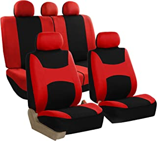 FH Group FB030115-SEAT Light & Breezy Red/Black Cloth Seat Cover Set Airbag & Split Ready- Fit Most Car, Truck, SUV, or Van