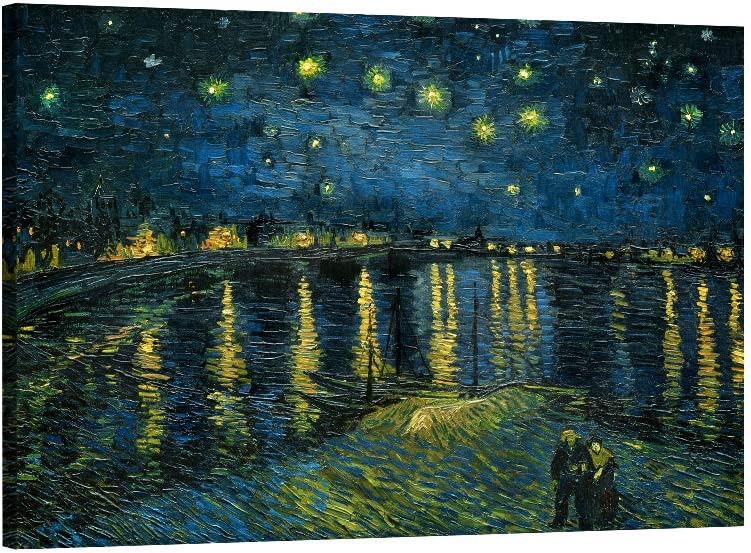 Canvas Wall Art Starry Night Over The Rhone by Vincent Van Gogh Wall Art Prints Reproduction Wooden Framed Canvas Oil Paintings for Living Room Bedroom Bathroom Kitchen Home Decor 12x16 Inch