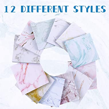 12 Pieces Marble Sticky Note Pads Marble Self-Stick Notes Adesive Memo Pads for Reminder Studying School Office Home Spplies,