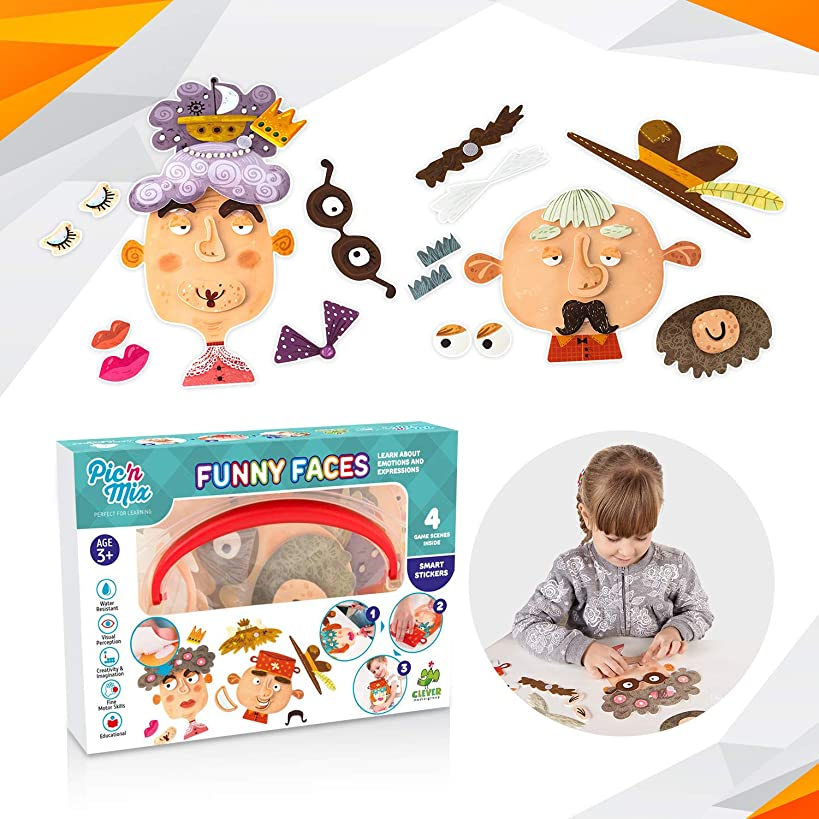 Picnmix Toddler Games for 3 year olds Funny Faces puzzles for kids ages 4 to 8 Preschool learning toys and educational gifts. Board games for kids 3 and up Eco-Friendly made of durable plastic.