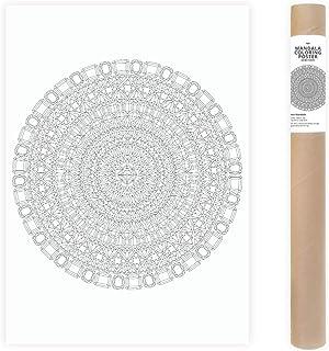 Poster Gigante di Colorazione Mandala con Gemme e Cristalli Modello para Colorear Arte Astratta