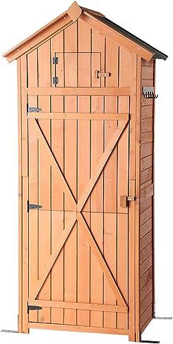 B BAIJIAWEI Garden Storage Shed - Garden Tool Storage Cabinet - Lockable Arrow Wooden Storage Sheds Organizer for Hom...