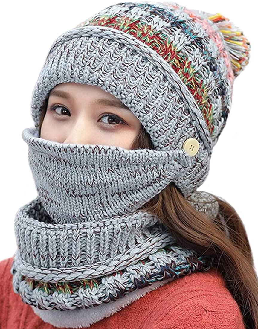 3 in 1 Winter Knitted Beanie Hat Face Neck Warmer Set for Women Girls Fleece Lining Ski Caps with Pompom