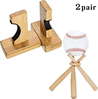 Baseball Bat Wall Mount for Horizontal Display,  Include 2 Pieces Bat Rack Holder,  Mini Baseball Bat Stand Set with 4 Pieces Double-Sided Adhesive