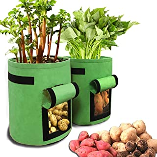 DANIVE Potato Grow Bags, 2 Pack 10 Gallon Garden Boxes, Vegetables Planter Bags, with Handle, Hook and Loop Window, for Sw...