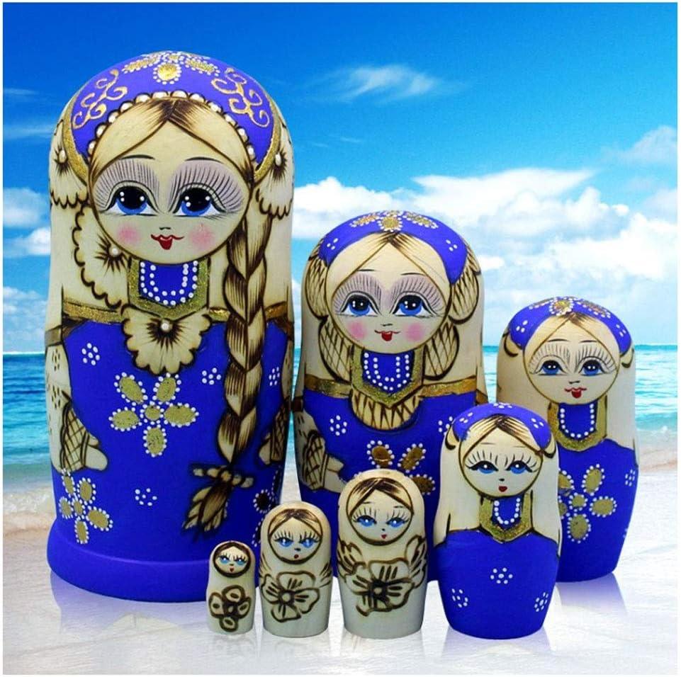 LUAN Matryoshkas Matryoshka Set Max 67% OFF of Wooden Luxury goods Stacking Girl 7 Blue