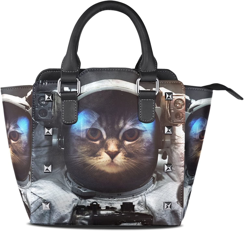 My Little Nest Women's Top Handle Satchel Handbag Funny Space Cat Ladies PU Leather Shoulder Bag Crossbody Bag