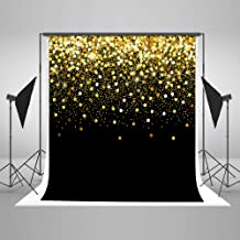 8ft(W) x8ft(H) Gold Dots Photography Backdrop Black with Golden Particles Photo Background Shinning Glitter...