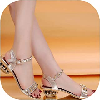 f0ca6e297657 High Heel Sandals Rivet Ankle Strap Open Toe Gold Heel Sandals Summer  Vacation Woman Shoes