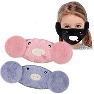 3Pcs Pig Pattern Kids Face Covering Earmuffs - Blue/ Black/ Pink Windproof Warm Cotton Fleece Face Cover with Ear Warmer Ear Protection for Cold Weather Unisex Children Boys Girls Outdoor Sports