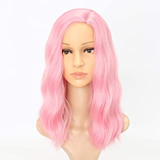 IQQI Wigs Long Curly Hair Pink Wigs High Temperature Wire Natural Perfect for Halloween, Concerts, Theme Parties, Weddings, Dating
