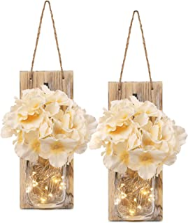 HOMKO Decorative Mason Jar Decorations with 6-Hour Timer LED Fairy Lights and Flowers..
