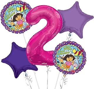 Dora the Explorer Balloon Bouquet 2nd Birthday 5 pcs - Party Supplies