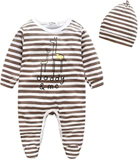 ALLAIBB Long Sleeve Stripe Romper Print Footies with Hat Set for Baby Boys and Girls