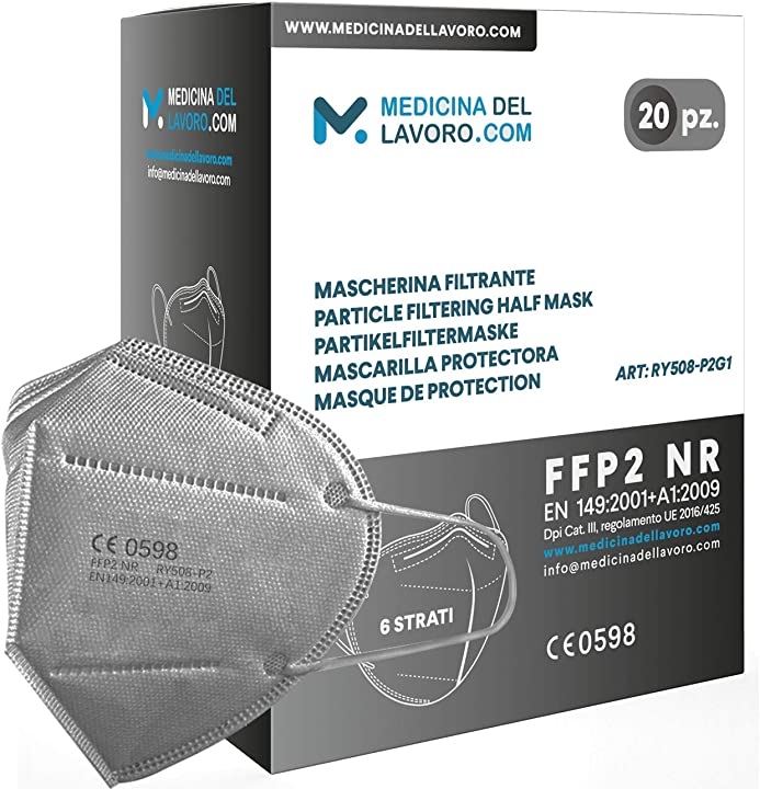 Mascherine ffp2 certificate ce mascherina a 6 strati senza valvola colore grigio - 20 pezzi 7427245761917